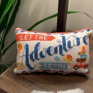 Counted cross stitch accent pillow Adventure